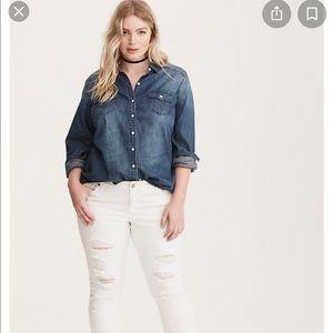 torrid Dark Denim Button Down Shirt